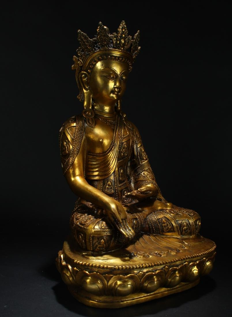 An Estate Chinese Gilt Loctus-seated Statue Display - 2