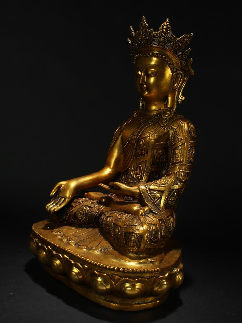 An Estate Chinese Gilt Loctus-seated Statue Display - 3
