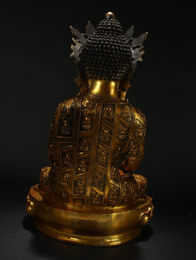 An Estate Chinese Gilt Loctus-seated Statue Display - 4