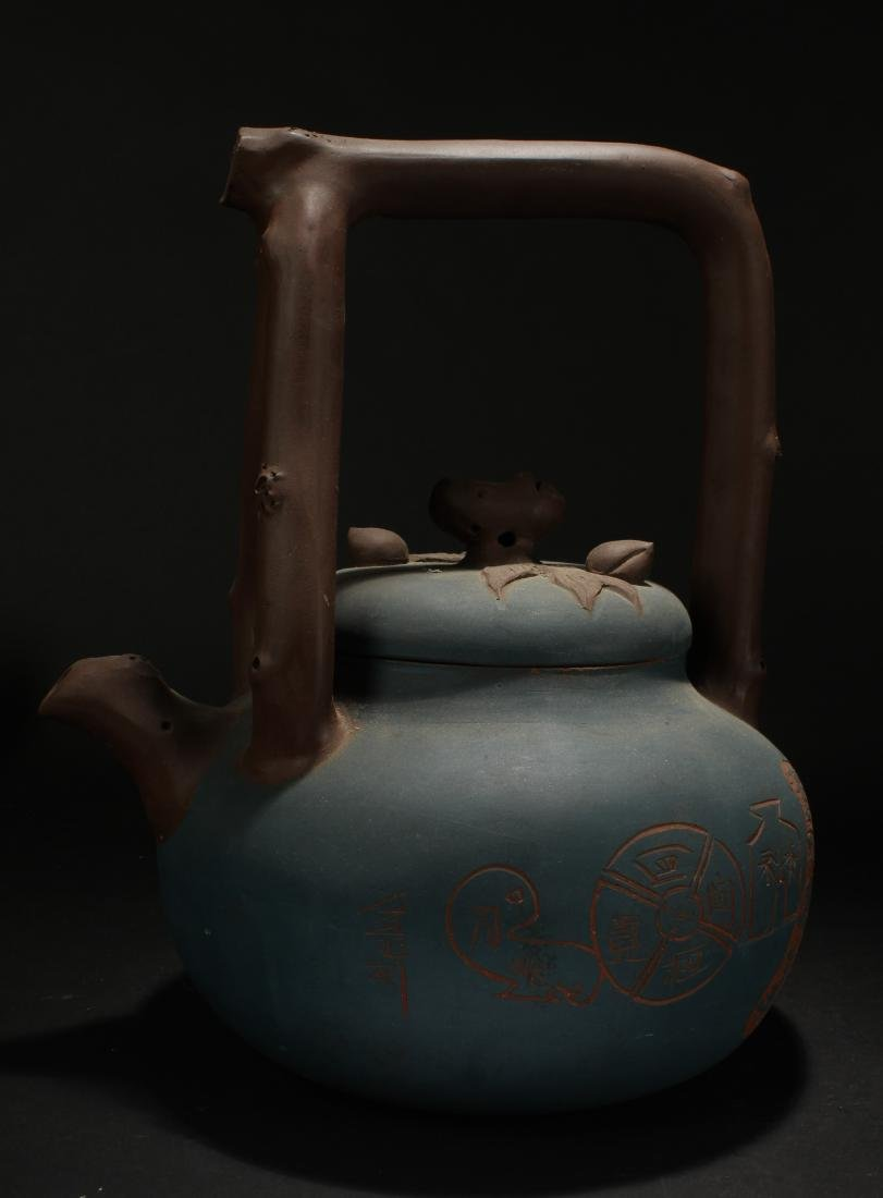 A Chinese Massive High-handled Fortune Tea Pot Display