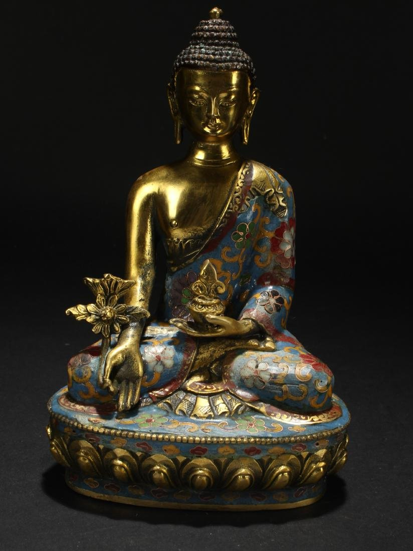 A Chinese Estate Pondering-pose Cloisonne Statue