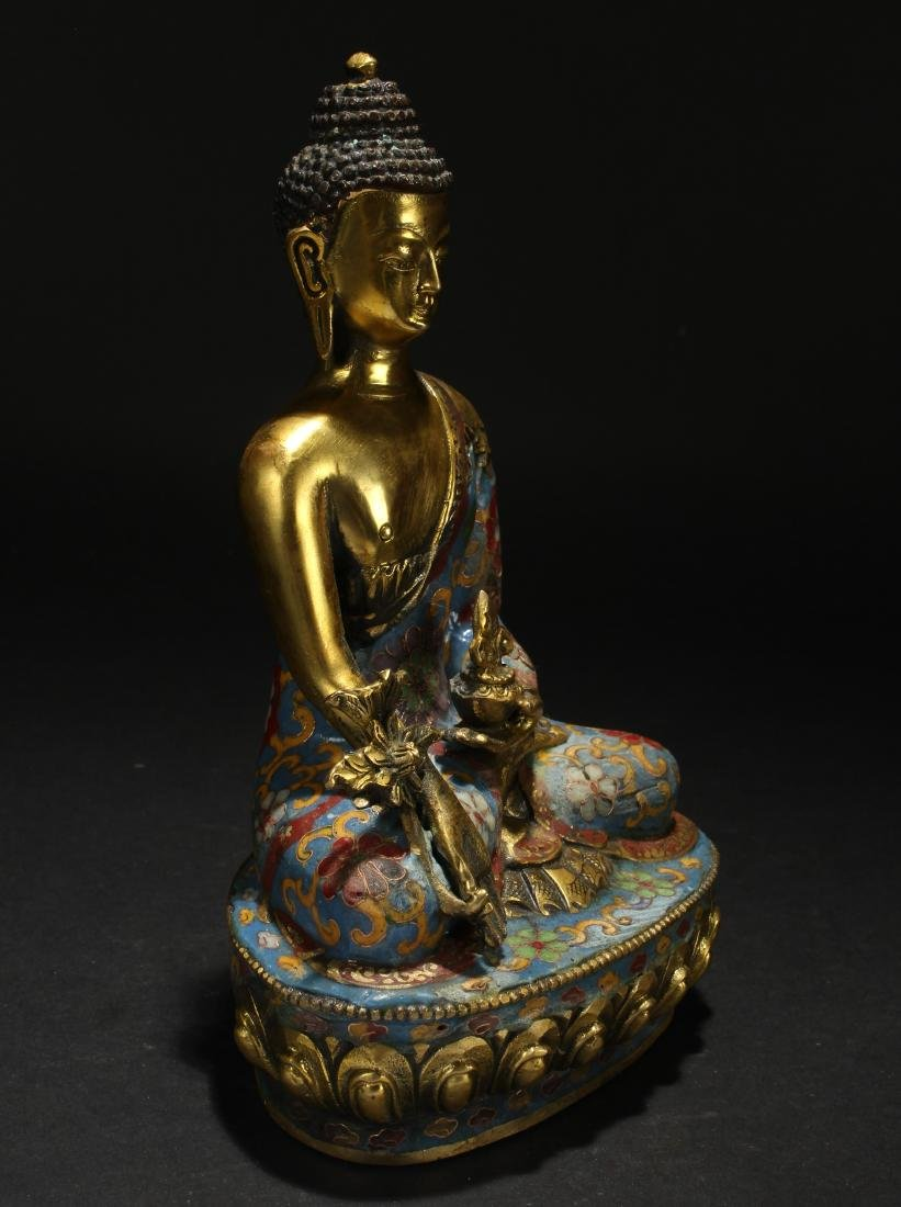 A Chinese Estate Pondering-pose Cloisonne Statue - 2