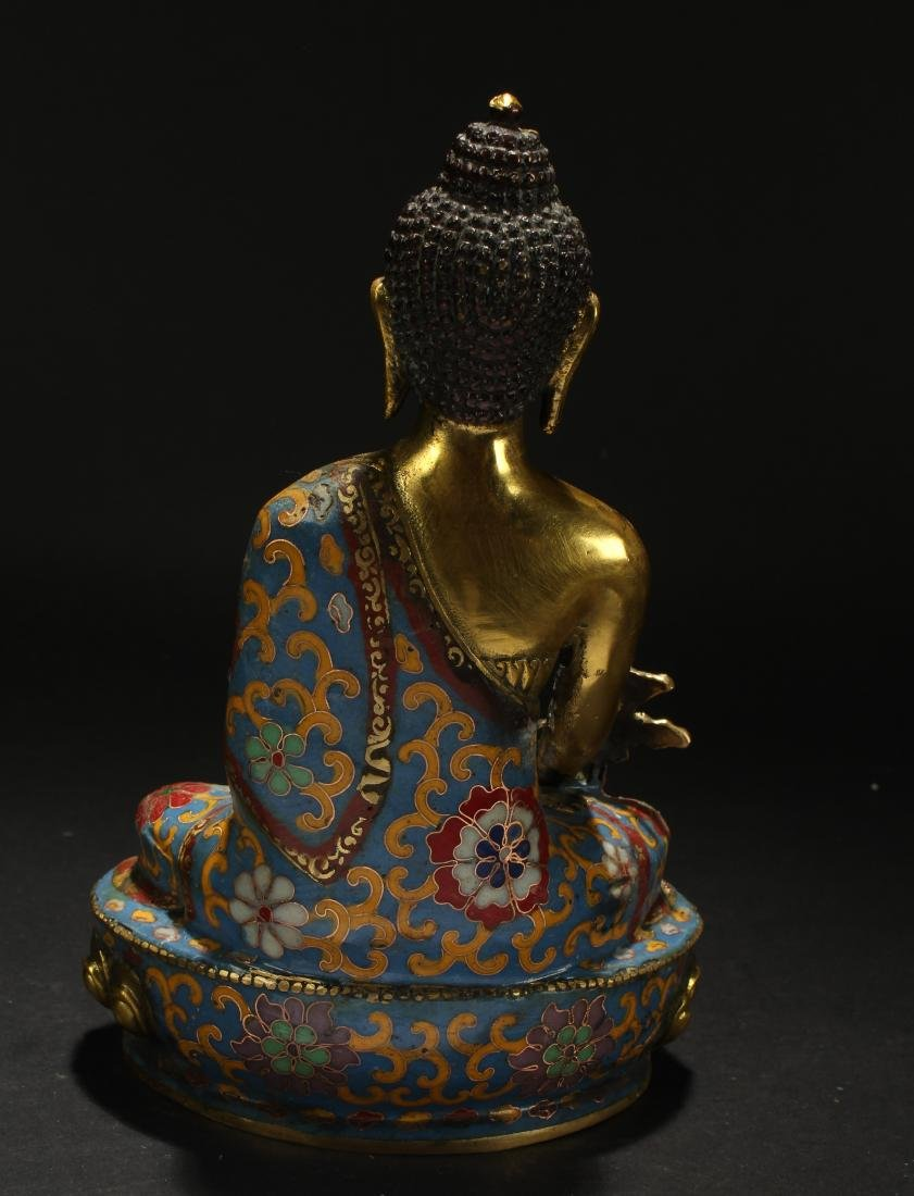 A Chinese Estate Pondering-pose Cloisonne Statue - 3