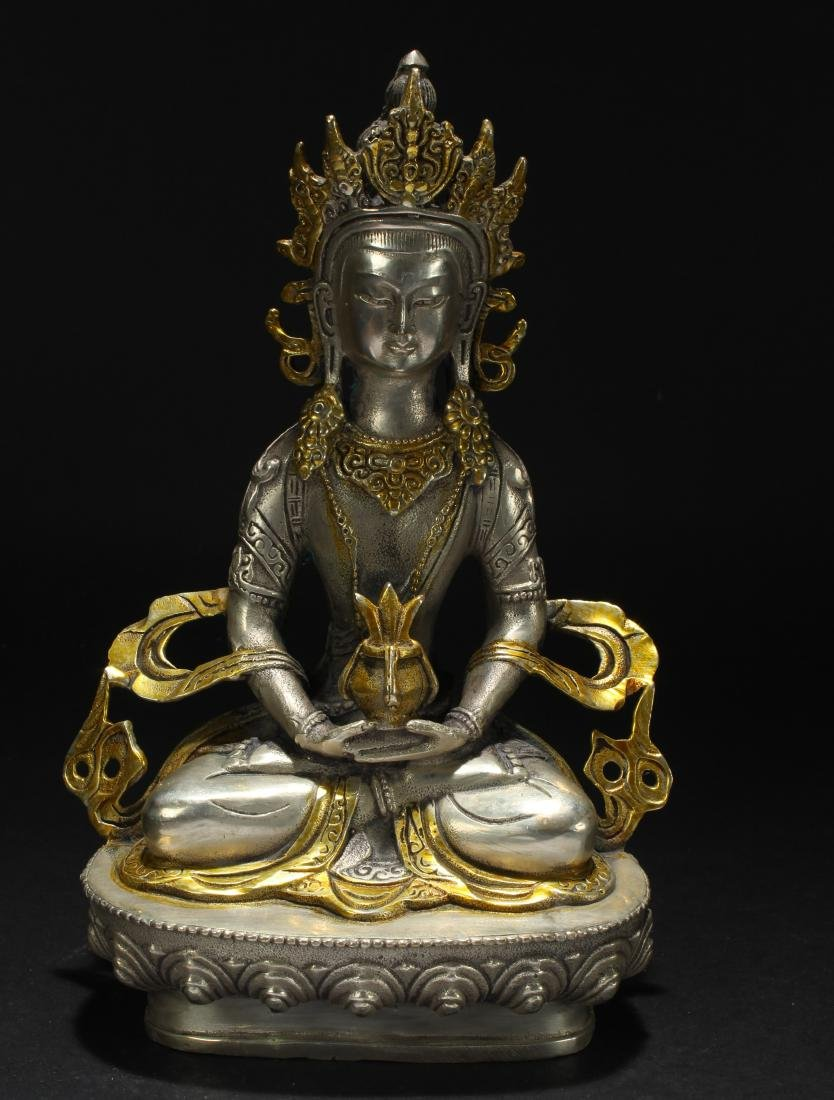 A Chinese Estate Religious Seated Statue Display