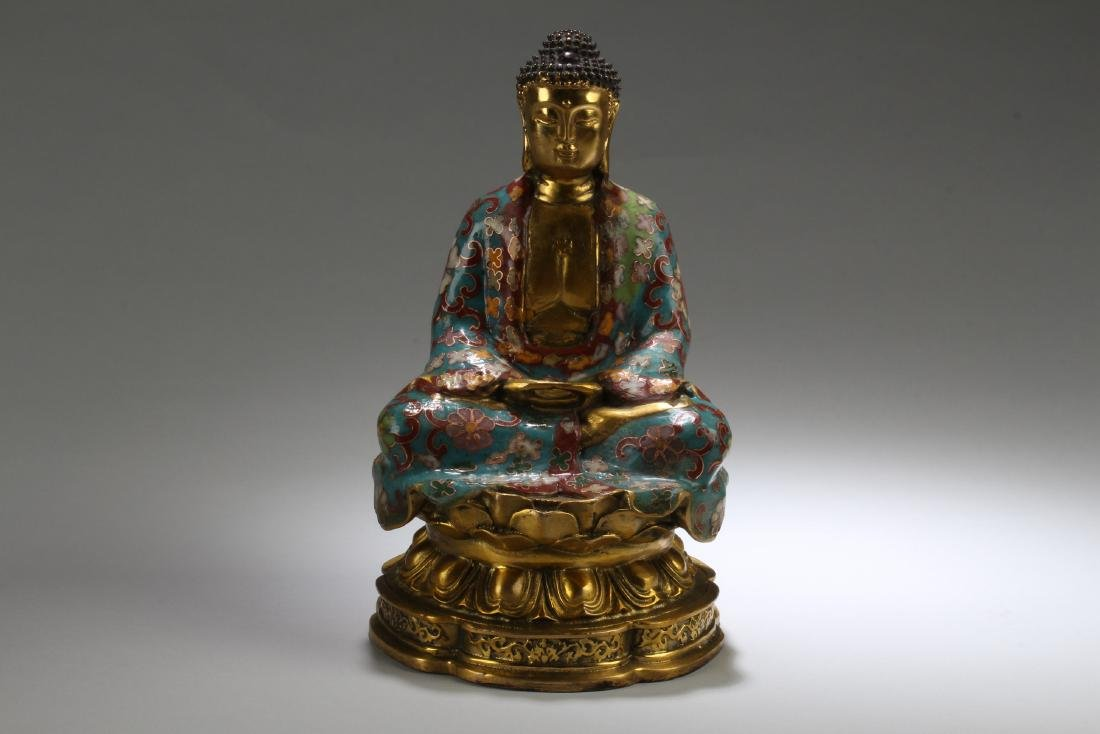 An Estate Chinese Seated Cloisonne Fortune Buddha