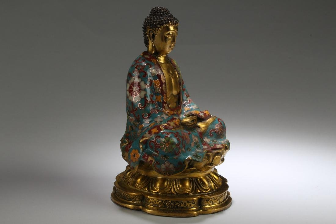 An Estate Chinese Seated Cloisonne Fortune Buddha - 2