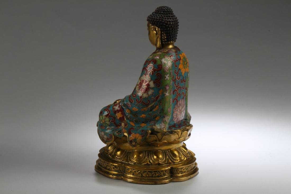 An Estate Chinese Seated Cloisonne Fortune Buddha - 3