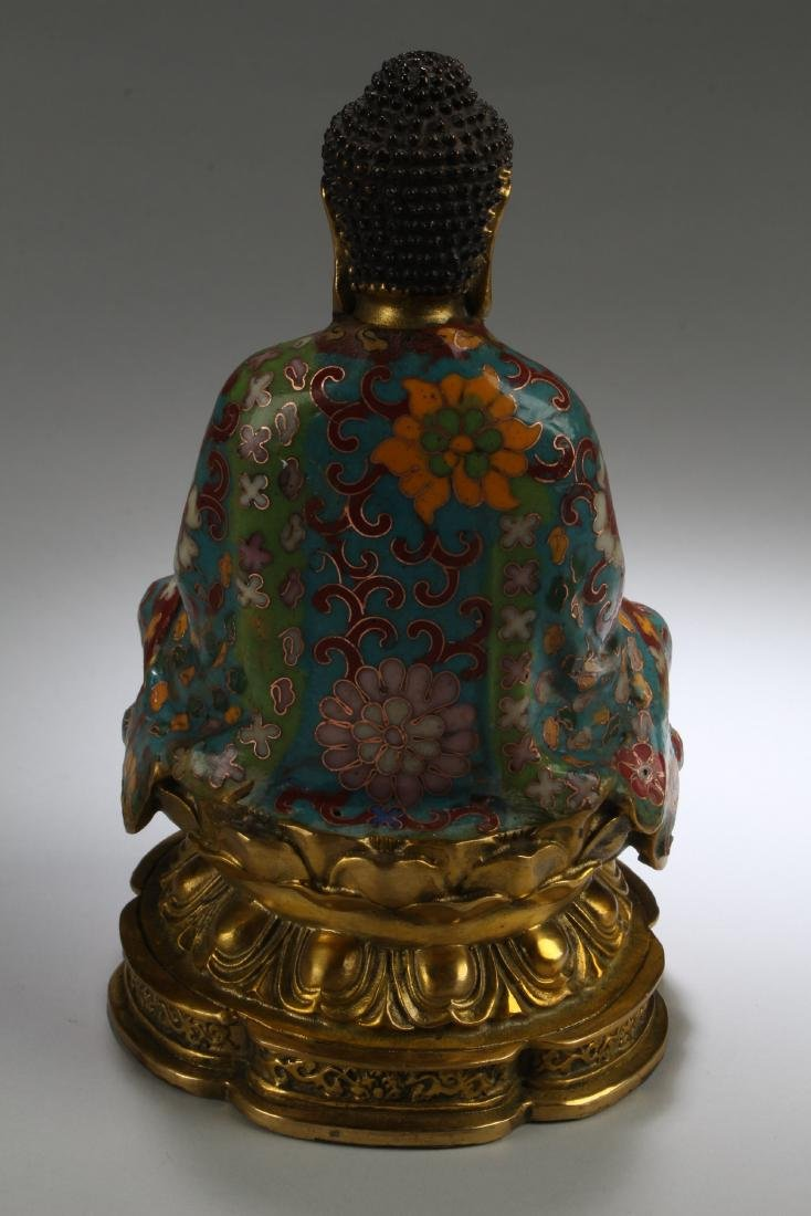 An Estate Chinese Seated Cloisonne Fortune Buddha - 4