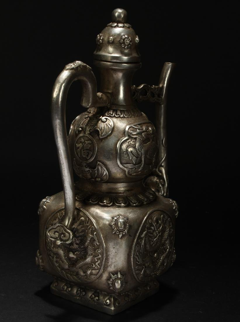 An Estate Chinese Metal-made Fortune Ewer - 3