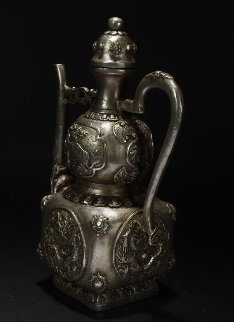 An Estate Chinese Metal-made Fortune Ewer - 4