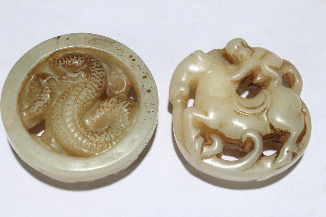 Two Chinese Old-jade Myth-beast Fortune Figures - 4