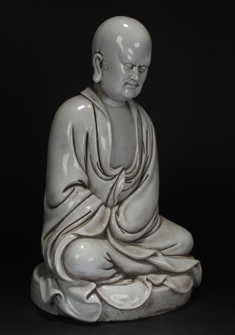 A Chinese Pondering-pose Estate White Porcelain Statue - 2