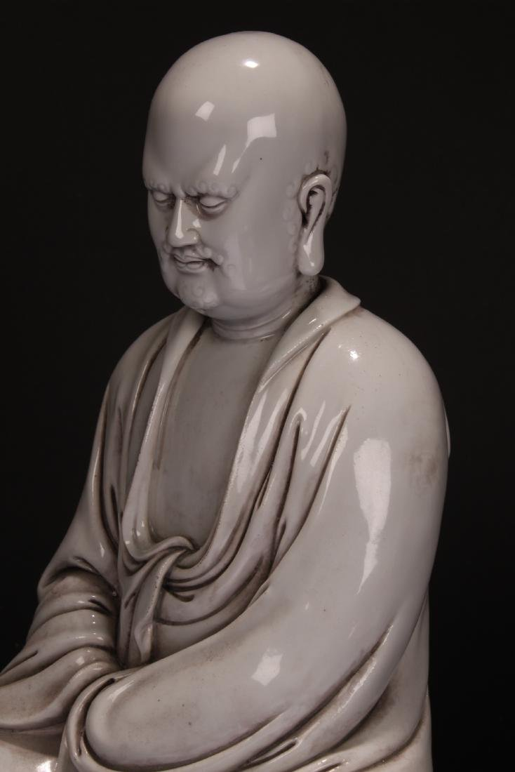 A Chinese Pondering-pose Estate White Porcelain Statue - 6