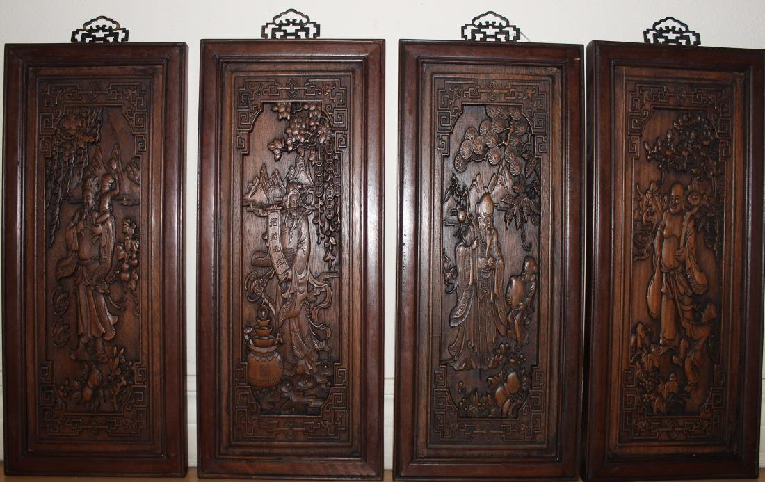 A Set of Chinese Wooden Collection Pannels