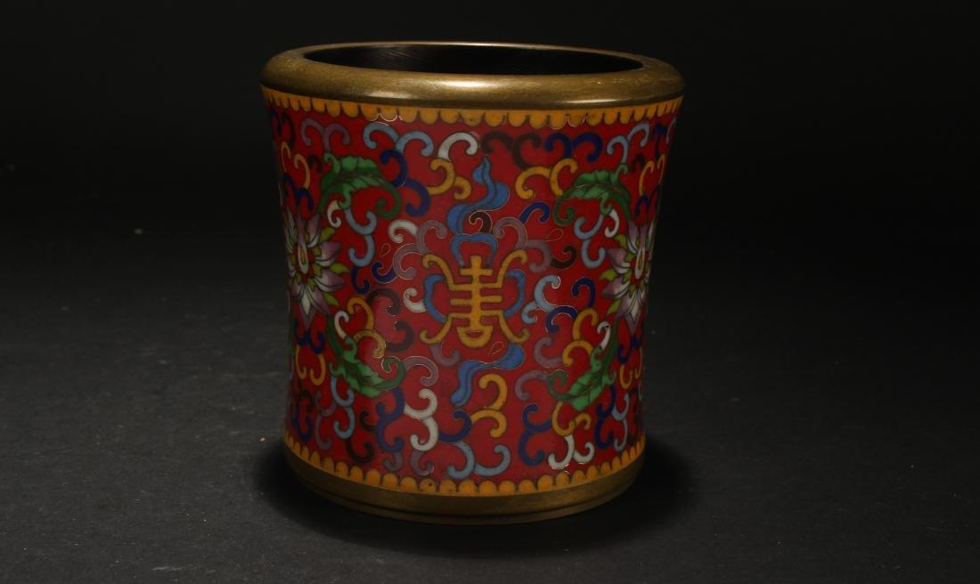 A Chinese Bat-framing Estate Red Cloisonne Censer Pot