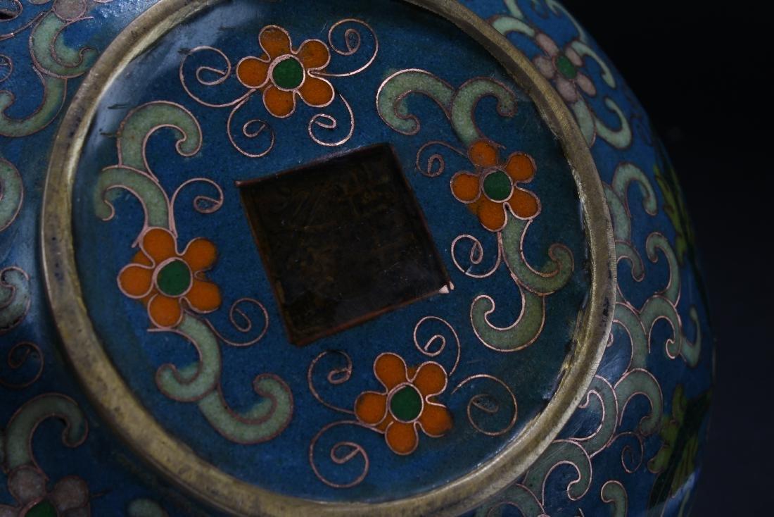 A Chinese Lidded Bat-framing Estate Cloisonne Censer - 5