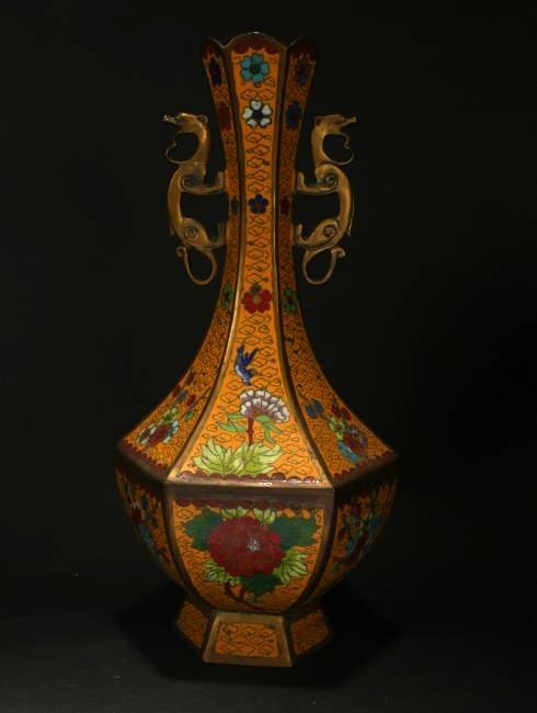 A Chinese Cloisonne Hexa-fortune Yellow Cloisonne Vase