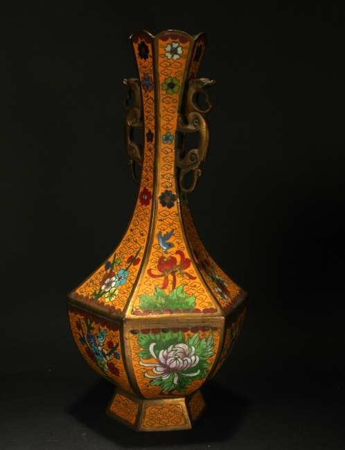 A Chinese Cloisonne Hexa-fortune Yellow Cloisonne Vase - 3