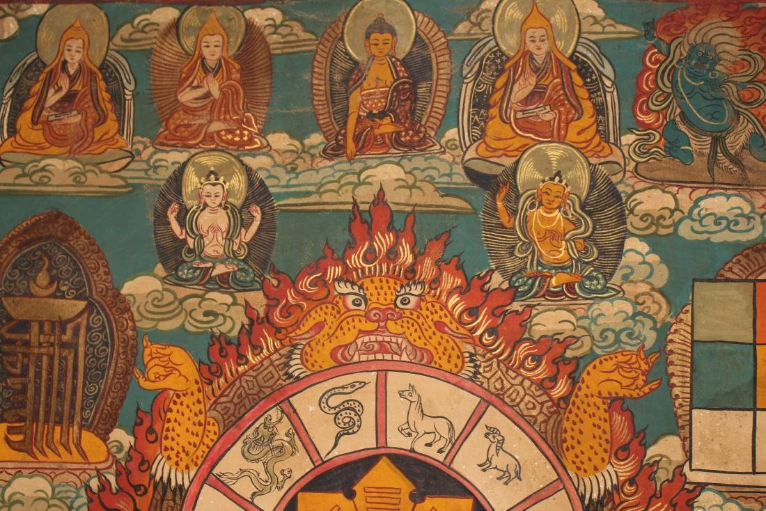 A Tibetan Religious Buddha-fortune Display Thangka - 4