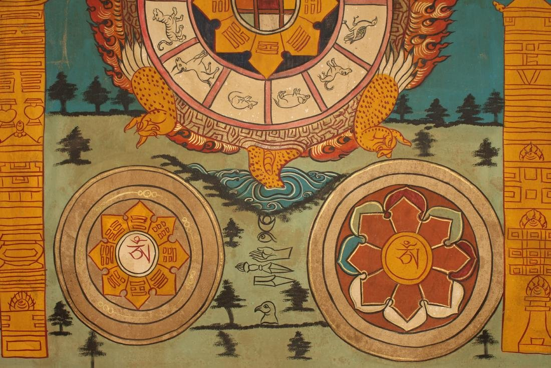 A Tibetan Religious Buddha-fortune Display Thangka - 5