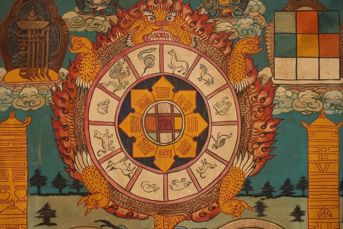 A Tibetan Religious Buddha-fortune Display Thangka - 6