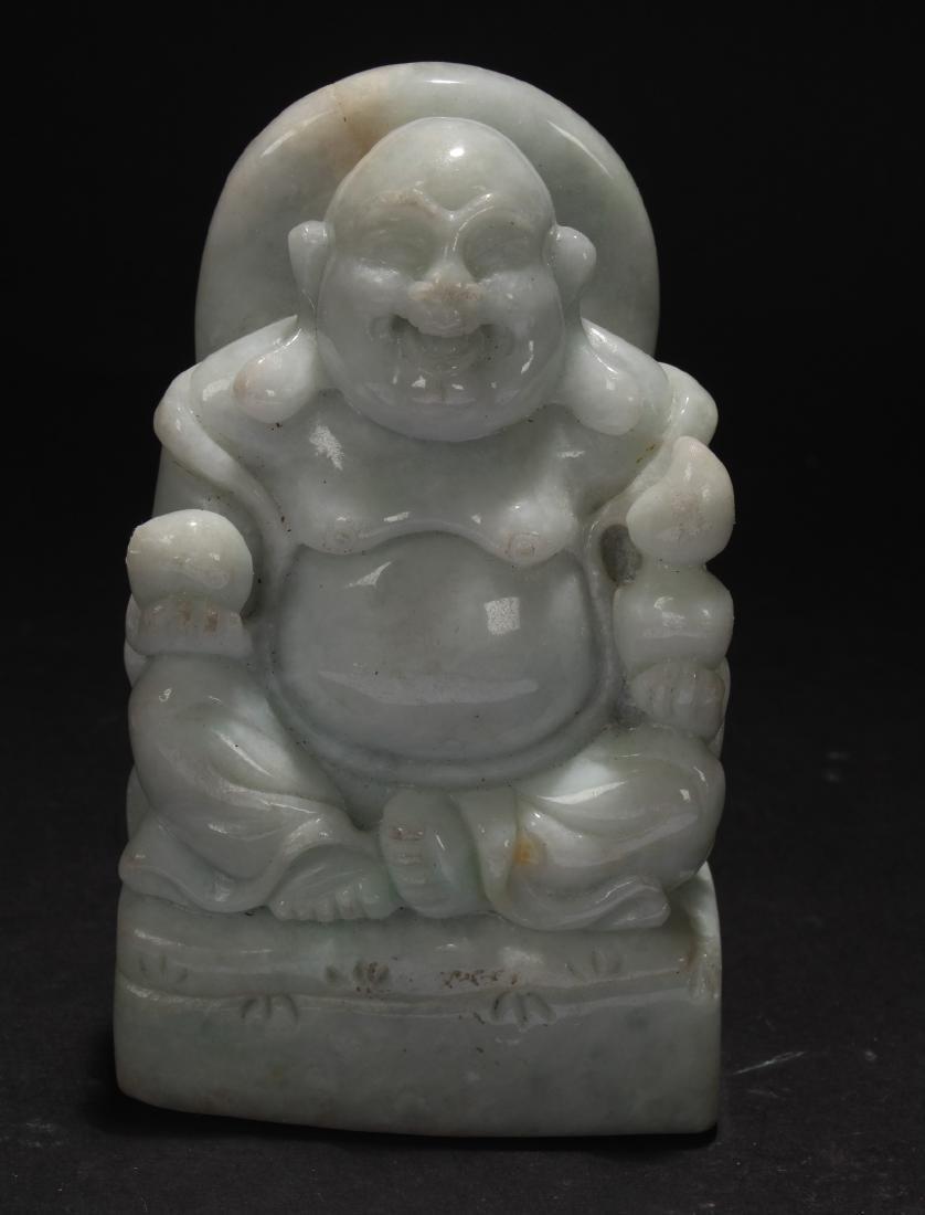An Estate Chinese Jade-curving Happy Buddha Display - 3