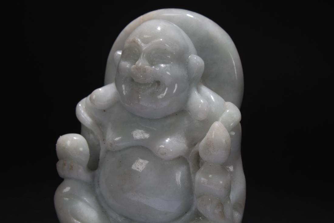 An Estate Chinese Jade-curving Happy Buddha Display - 6