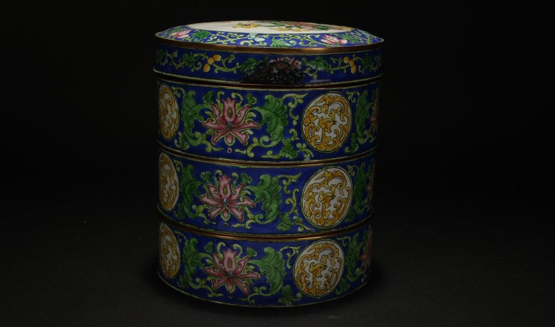 A Chinese Lidded Cloisonne Box Display - 2