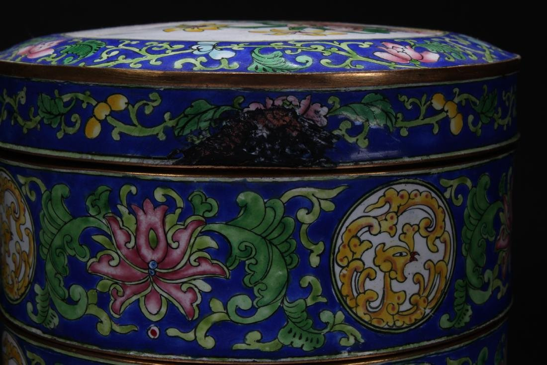 A Chinese Lidded Cloisonne Box Display - 3