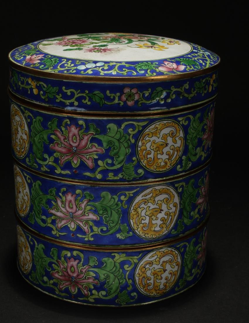A Chinese Lidded Cloisonne Box Display - 4