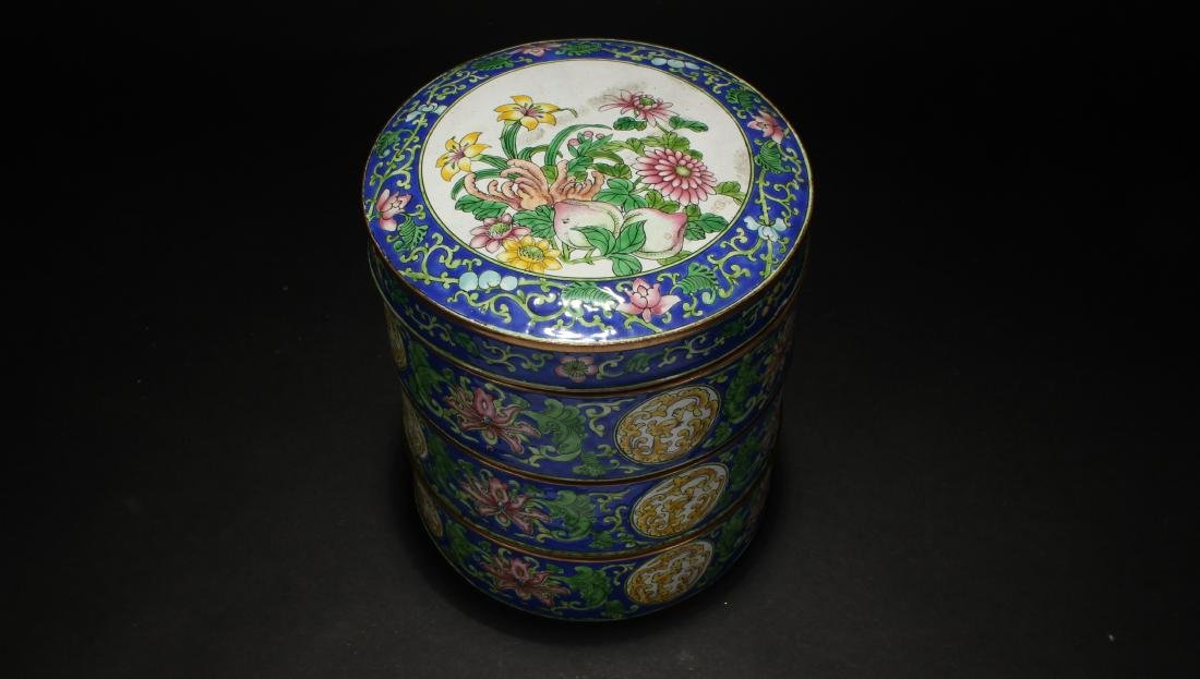 A Chinese Lidded Cloisonne Box Display - 5