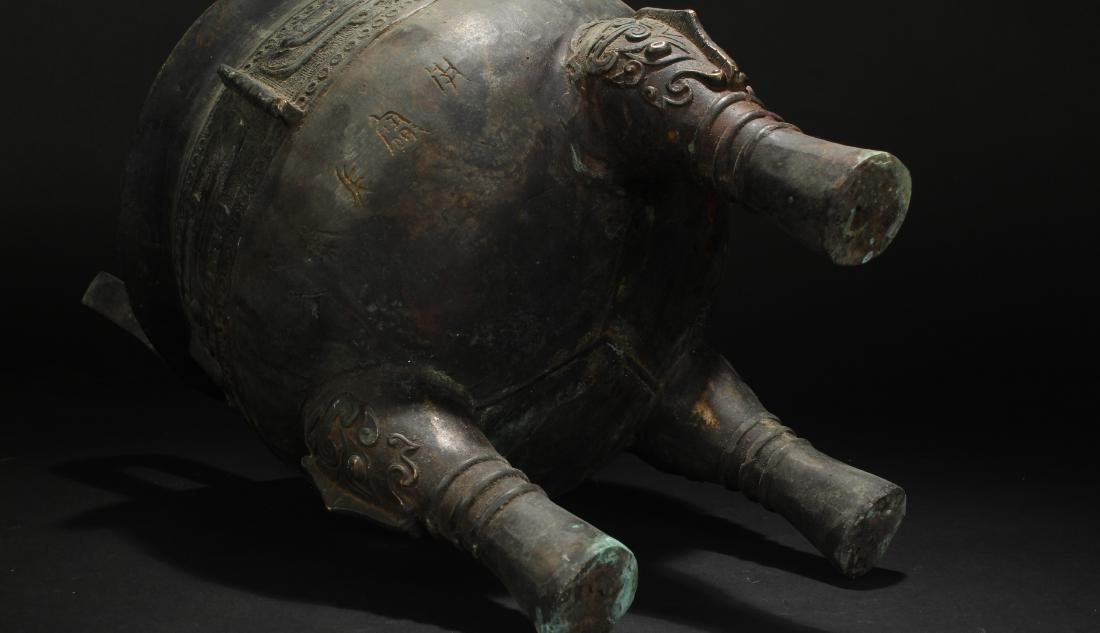 An Estate Chinese Tri-podded Bronze Vessel - 3