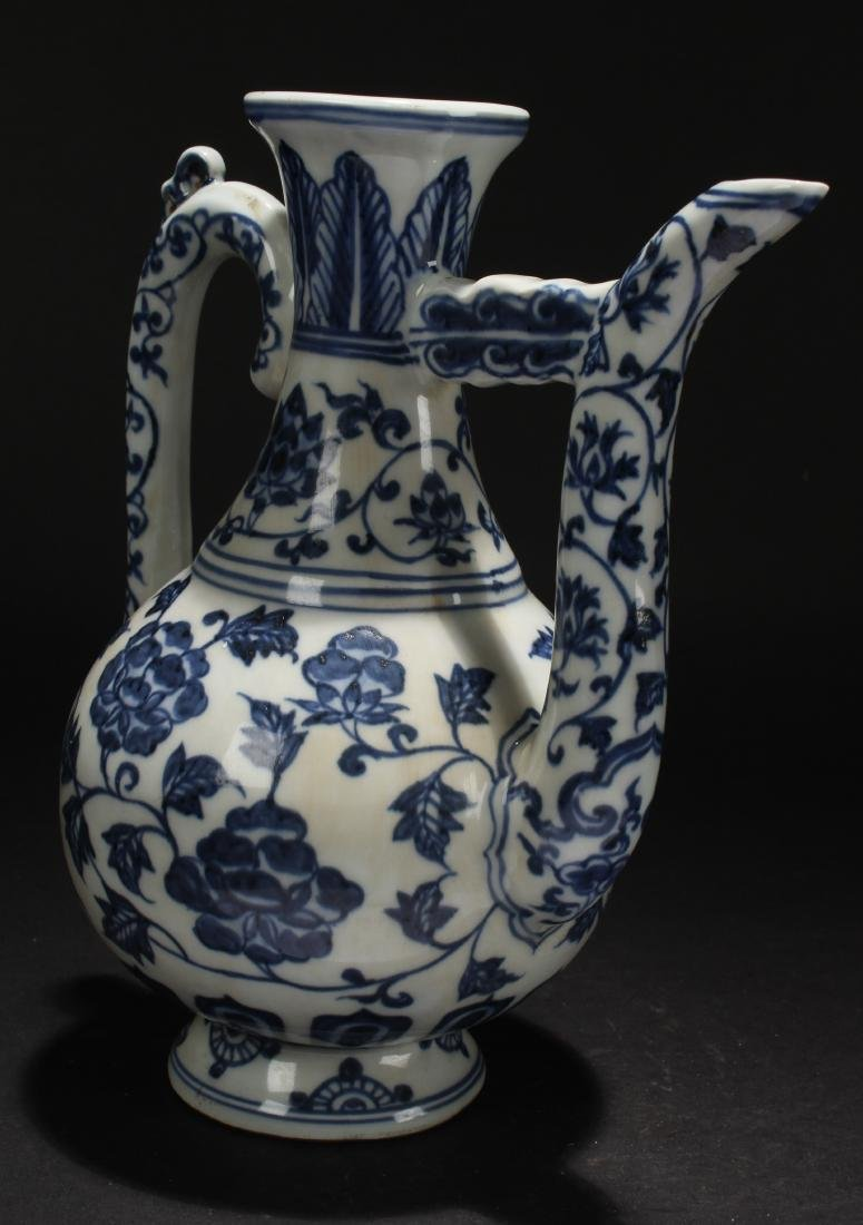 A Chinese Blue and White Estate Porcelain Ewer Display - 3