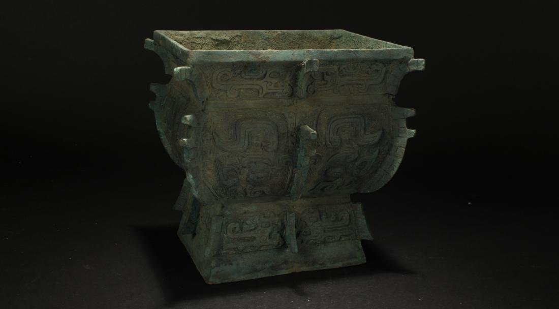 An Estate Anicent-framing Chinese Bronze Vessel Display