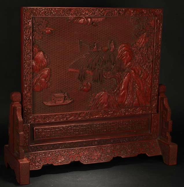 A Chinese Mountainview Estate Lacquer Table Screen - 2