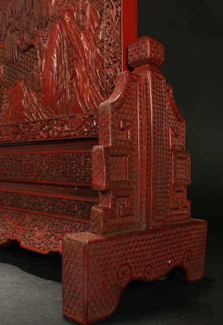 A Chinese Mountainview Estate Lacquer Table Screen - 4