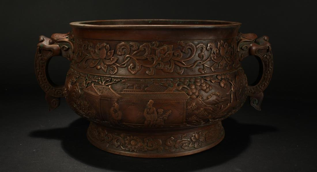 A Chinese Dragon-decorating Duo-handled Massive Censer