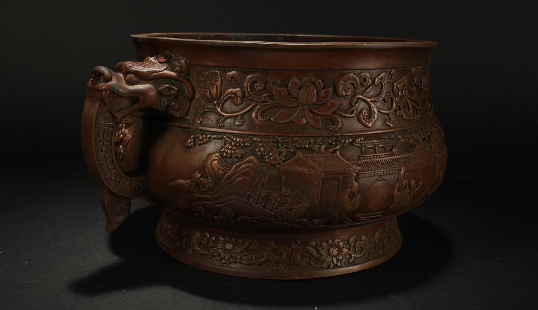 A Chinese Dragon-decorating Duo-handled Massive Censer - 2