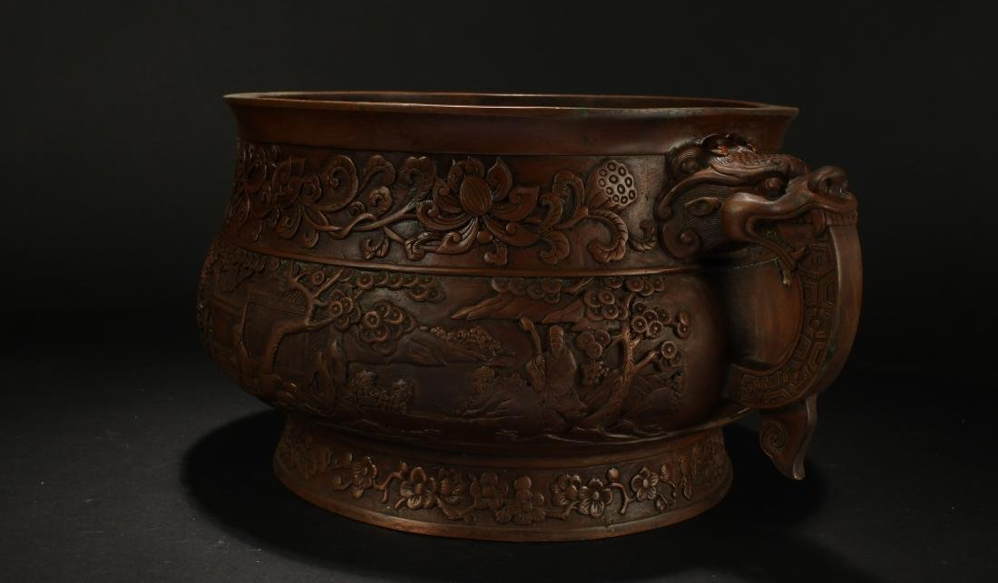 A Chinese Dragon-decorating Duo-handled Massive Censer - 3