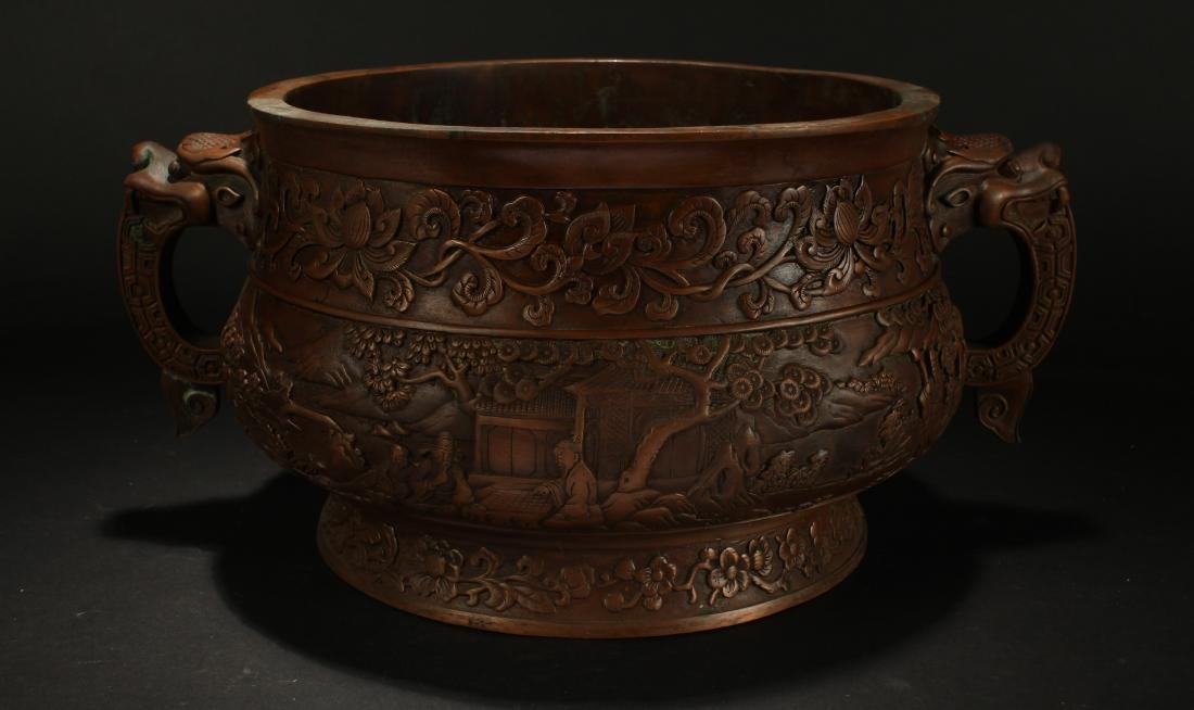 A Chinese Dragon-decorating Duo-handled Massive Censer - 4