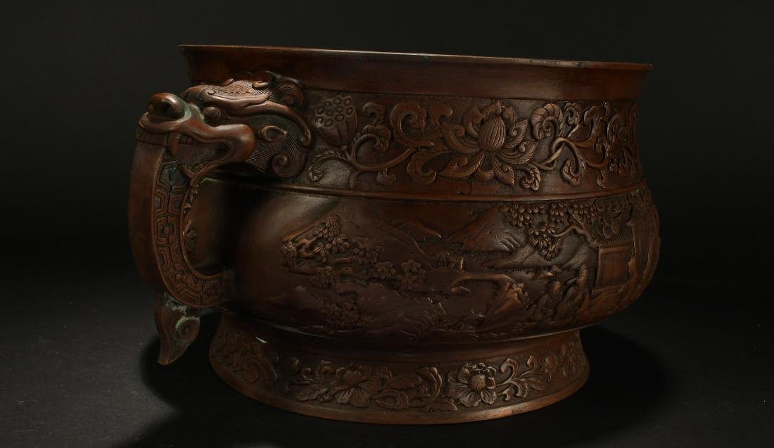 A Chinese Dragon-decorating Duo-handled Massive Censer - 5