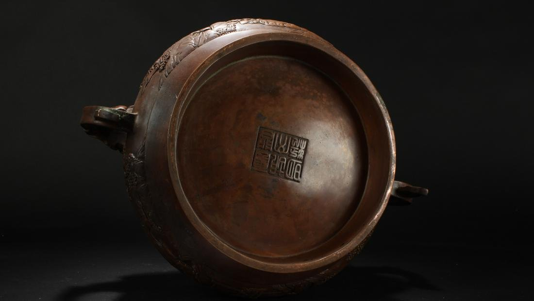 A Chinese Dragon-decorating Duo-handled Massive Censer - 7
