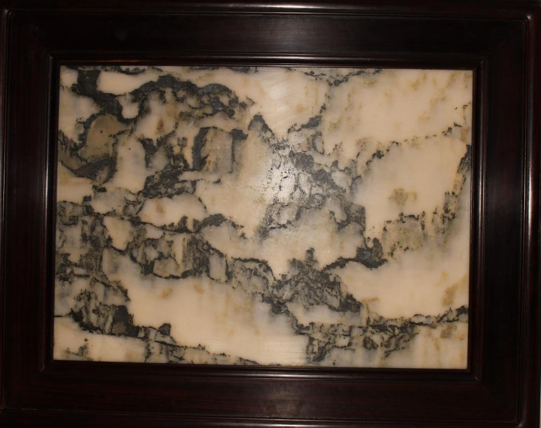 An Estate Chinese Marble-stone Table Screen Display
