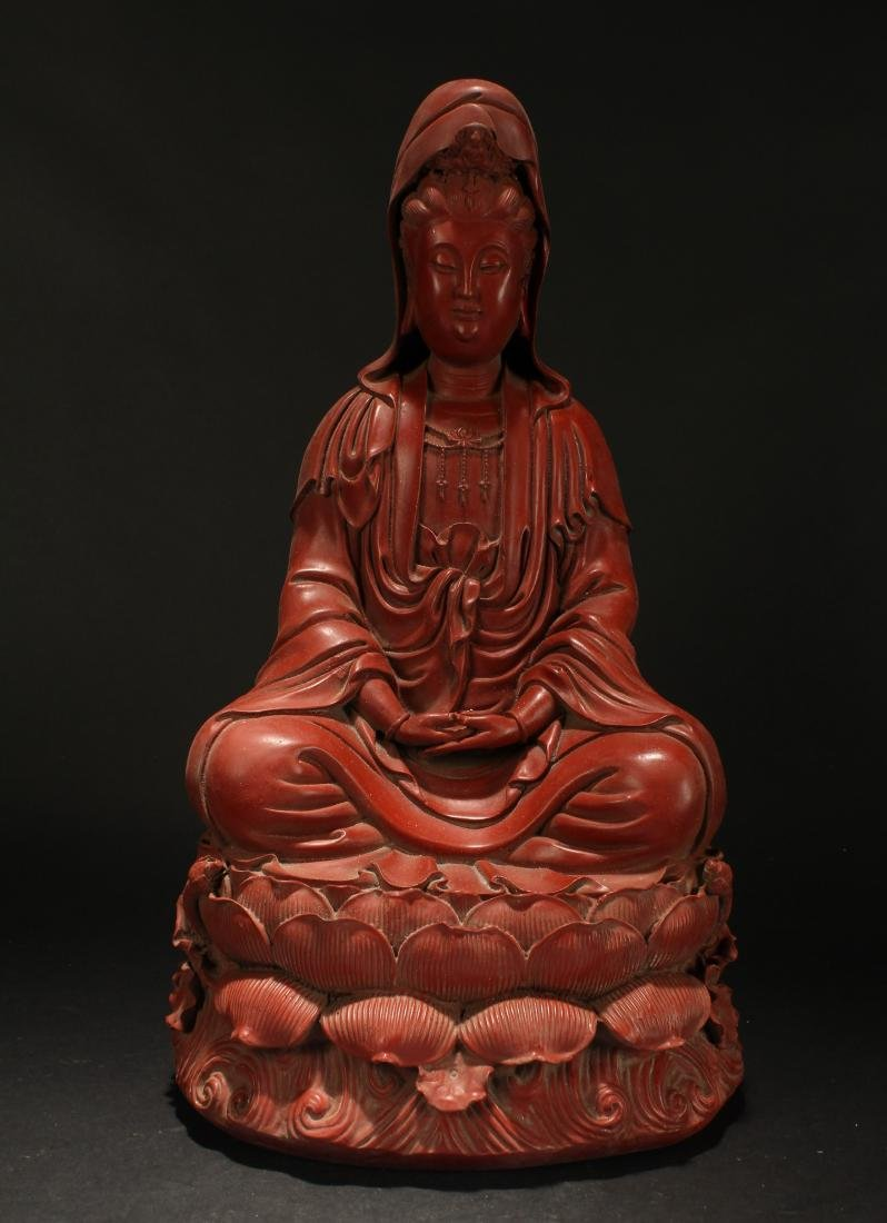 A Chinese Seated Estate Lacquer Guanyin Display Statue