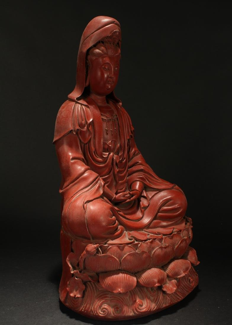 A Chinese Seated Estate Lacquer Guanyin Display Statue - 2