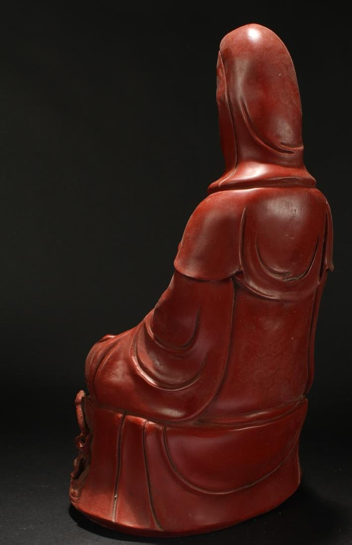 A Chinese Seated Estate Lacquer Guanyin Display Statue - 4