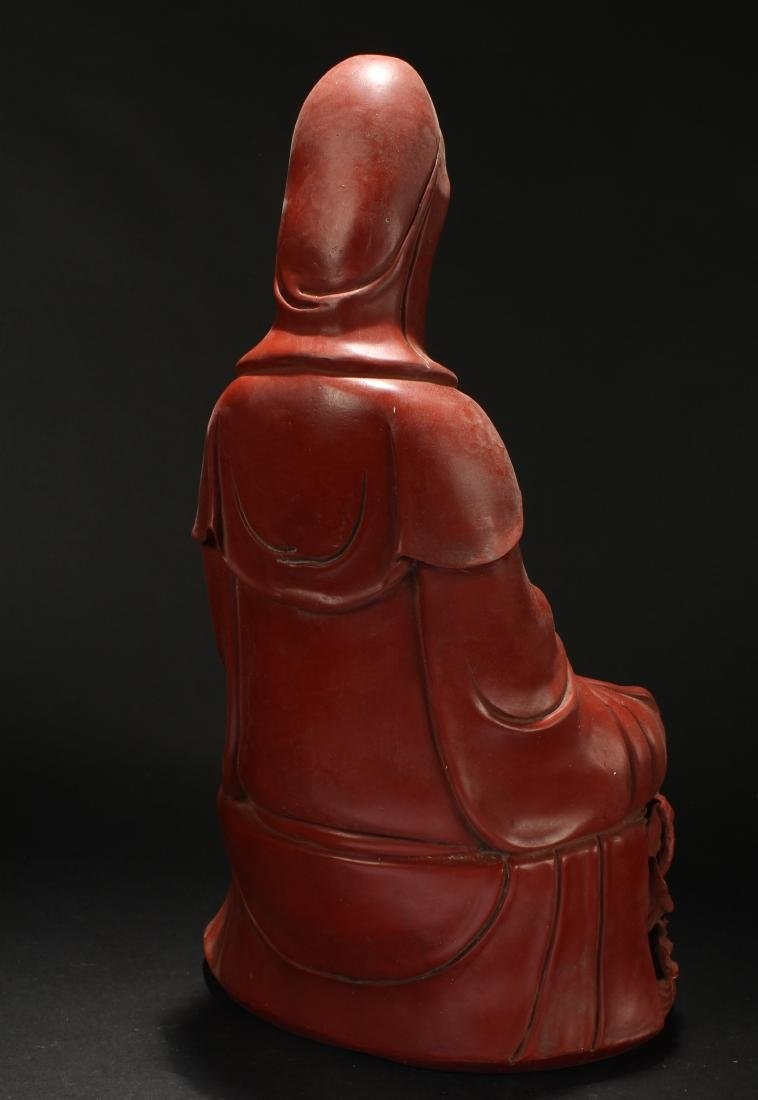 A Chinese Seated Estate Lacquer Guanyin Display Statue - 5