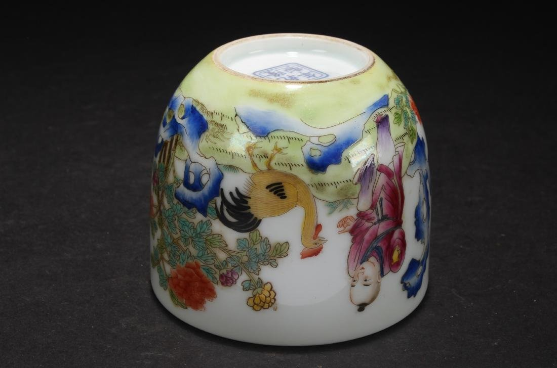 A Chinese Rooster Poetry-framing Porcelain Cup - 5