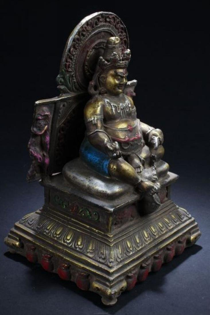 A Seated Religious Anicent-framing Tibetan Statue - 3