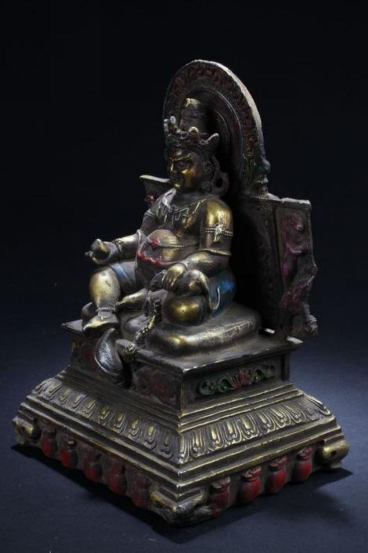 A Seated Religious Anicent-framing Tibetan Statue - 4